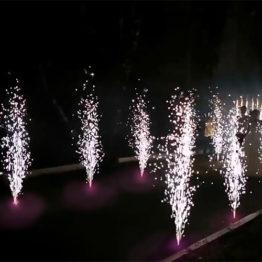 Фонтан пиротехнический с розовой подсветкой Пиротехнический двор Омск